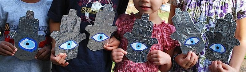 Ward off the evil eye with this hamsa craft for kids for Turkey country arts and crafts
