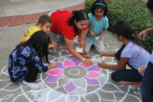 Making a Rangoli with Kids- Kid World Citizen