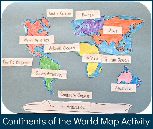Continents of the World Map Activity Geography for Kids