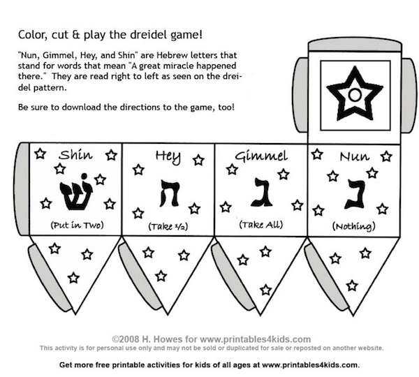 Zany image with dreidel printable